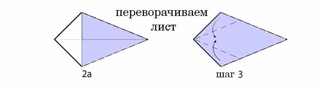 лебедь из бумаги шаг 2